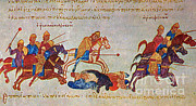 Byzantine Prints - Byzantines Cavalrymen Pursuing The Rus Print by Photo Researchers