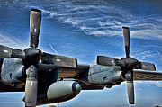 Blue Airplane Photos - C-130 Hdr by Sheri Bartoszek