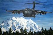 Jet Painting Framed Prints - C-17 and Mt. Rainier Framed Print by Holly York