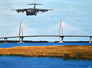 Jet Painting Prints - C-17 and Ravenel Bridge Print by Holly York