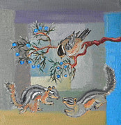 Chipmunks Paintings - C is for Charming Creatures of the Cedar Breaks childhood quilt detail by Dawn Senior-Trask