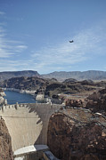Hoover Posters - C130 over Hoover Dam Poster by Mark Highfield
