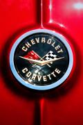 Muscle Metal Prints - C2 Corvette Logo Metal Print by Scott  Wyatt