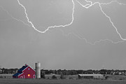 Lightning Weather Stock Images Posters - C2C Red Barn Lightning Rodeo BW SC Poster by James Bo Insogna
