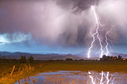 Lightning Images Art - C2G Lightning Bolts Striking Longs Peak Foothills 6 by James Bo Insogna