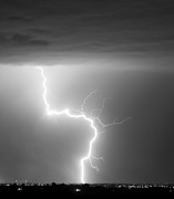 Lightning Bolts Metal Prints - C2G Lightning Strike in Black and White Metal Print by James Bo Insogna