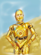 Reflective Framed Prints - C3po Framed Print by Russell Pierce