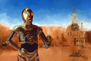 Starwars Digital Art Prints - C3PO Star Wars Print by Michael Greenaway