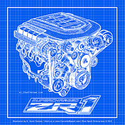 Block Print Art Prints - C6 ZR1 Corvette LS9 Engine Blueprint Print by K Scott Teeters
