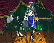 Singer Paintings - Cabaret Cats by Carol Wilson