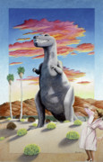 Whimsical Framed Prints - Cabazonasaur Framed Print by Snake Jagger