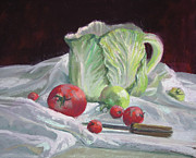 Tomatoes Pastels Prints - Cabbage Pitcher and Tomatoes Print by Mary Ann Cherry