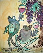 Wine Glasses Paintings - Cabernet Frogs by James  Christiansen