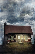 Log House Prints - Cabin at Night Print by Stephanie Frey