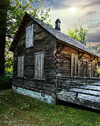 Log Digital Art - Cabin by DMSprouse Art