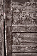 Weathered Prints - Cabin Door BW Print by Steve Gadomski