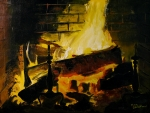 Doug Strickland Paintings - Cabin Fireplace by Doug Strickland