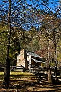 Merriment Posters - Cabin in Cades Cove and Rail Fence Poster by Douglas Barnett