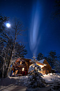 Snowy Night Art - Cabin in Minnesota by Garth  Mc Intosh