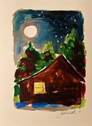 Cabin Window Paintings - Cabin in the Evening by John  Williams