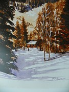 National Parks Paintings - Cabin In The Mountain Snow  by David Ackerson