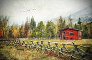 Barns Digital Art - Cabin in the Mountains by Mary Timman
