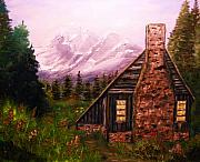 Must See Posters - Cabin in the mountains Poster by Tina Haeger