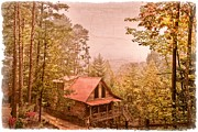 Smokey Mountains Framed Prints - Cabin in the Pines Framed Print by Debra and Dave Vanderlaan