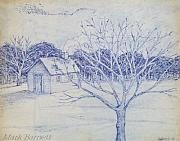 Log Cabin Art Drawings - Cabin in the Snow by Mark Barnett