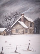 Snowy Trees Paintings - Cabin In The Snow by Randy Edwards
