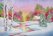 Winterscape Painting Originals - Cabin In The Woods by Deborah Ronglien