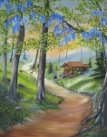 Smoky Mountains Paintings - Cabin In The Woods by RJ McNall