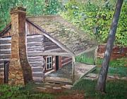 Log Cabin Art Painting Posters - Cabin in the woods Poster by Ron Bowles