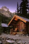 Snowy Evening Posters - Cabin In Yoho National Park, Lake Poster by Ron Watts