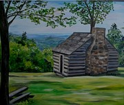 Blue Ridge Parkway Paintings - Cabin on the Blue Ridge Parkway in VA by Julie Brugh Riffey