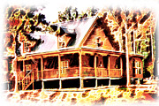 Quite Digital Art Posters - Cabin on the Hill Poster by Barry Jones