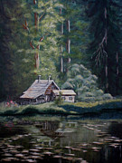 Lakeside Cabin Posters - Cabin On The Lake Poster by Birgit Coath