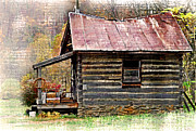 River Cabin Prints - Cabin On The River Print by Kathy Jennings