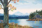 Ruth Housley Metal Prints - Cabin on the River Metal Print by Ruth  Housley