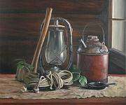 Ropes Painting Framed Prints - Cabin Still Life Framed Print by Anna Bain