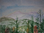 Smokey Mountains Paintings - Cabin View by Spencer  Joyner