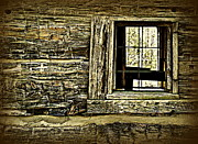 Cabin Window Posters - Cabin Window Poster by Becky Foster