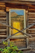 Mountain Cabin Digital Art Framed Prints - Cabin Windows Framed Print by Jeff Kolker