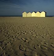 Foot Prints Posters - Cabins on a beach in Normandy Poster by Bernard Jaubert
