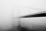 Suspension Bridge Metal Prints - Cable Bridge Disappears In Fog Metal Print by Photos by Sonja