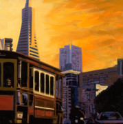 California Contemporary Gallery Framed Prints - Cable Car Framed Print by Aaron Memmott
