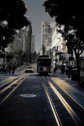 Olia Saunders Metal Prints - Cable Car in San Francisco Fine Art Metal Print by Design Remix