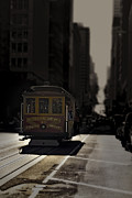 Olia Saunders Metal Prints - Cable Car in San Francisco Sepia Metal Print by Design Remix