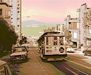 Alcatraz Art - Cable Car on Hyde Street Hill San Francisco by Padre Art