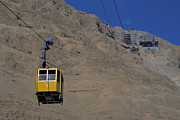 Conveyance Posters - Cable car to Masada Poster by Carl Purcell